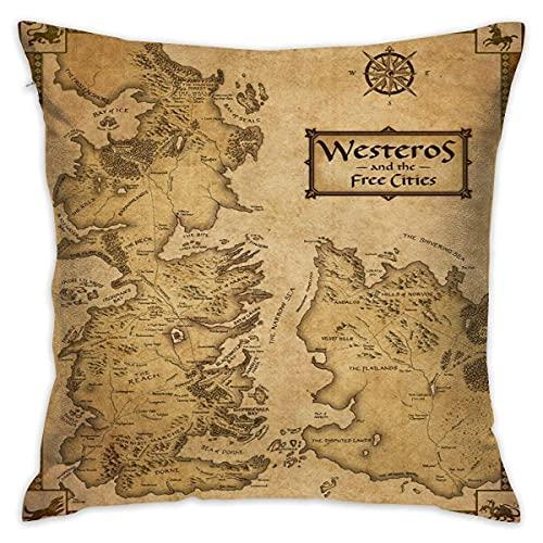 AnimeHall Game of Thrones Map of Westeros and Free Cities X 18 Funda de Almohada Sofá Cama para el hogar Decorado Suave Cómodo Lavado Fundas de Almohada