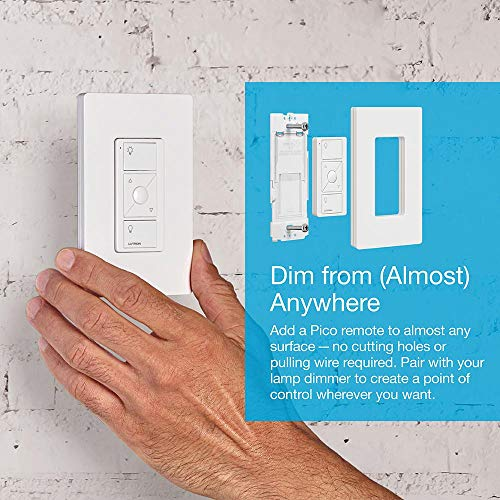Lutron Caseta Smart Home Plug-in Lamp Dimmer Switch and Pico Remote Kit, Works with Alexa, Apple HomeKit, and The Google Assistant   P-PKG1P-WH   White
