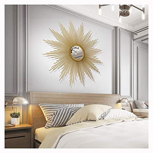 CJY-mirror Colgante de Pared Decorativo en Forma de Resplandor Solar, Pared Redonda de Resplandor Solar Dorado Cepillado, Estilo Moderno de Mediados de Siglo, Espejos de Pared,Oro,60cm