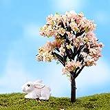 2pcs Pastell, Rosa, Grün, Braun Blume Blüte Baum Künstliche Pflanze Miniatur-Bäume...