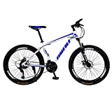 Mountain Bikes 26 Inch Outroad Mountain Bike 21 Speed Bicycle Full Suspension MTB Bikes 2020 New Road Bikes for Adult Lightweight Double Disc Brake Anti-Slip Bikes (Blue)