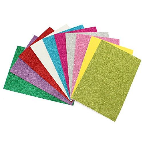 EsportsMJJ 10 stuks 8 x 12 inch lijm glitter papier kaart diverse kleuren scrapbooking handwerk
