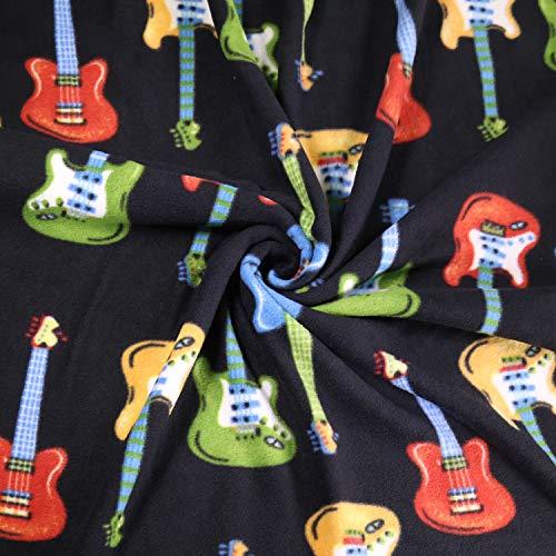 FabricLA Printed Fleece Fabric - 2 Yards (Guitar)