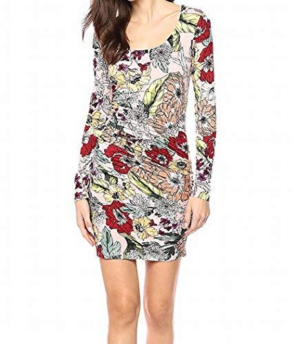 GUESS Women's Long Sleeve Cierra Dress, Garden Fever Print Rose Dust,...
