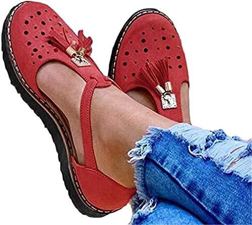 ONEYMM Zapatos De Mujer Sandalia De Cuero con Borlas Planas Plataforma Informal Flecos Borlas Sandalias Ahuecadas Zapatos Sandalias De Playa Sandalias Sexys para Mujer,Rojo,43