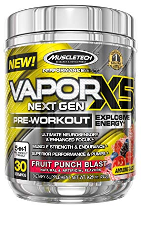 Pre Workout Powder | MuscleTech Vapor X5 | PreWorkout Energy Powder | Pre Workout for Men & Women | Creatine as Muscle Builder | Sports Nutrition Pre-Workout Products | Fruit Punch Blast (30 Servings)