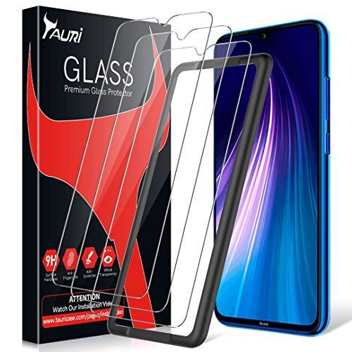 TAURI 3 Piezas Protector de Pantalla para Xiaomi Redmi Note 8 Protector Pantalla, [9H Dureza][Instalación fácil del Marco de alineación][Resistente a Arañazos]Cristal Vidrio Templado Screen Protector