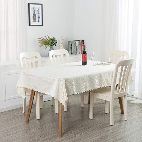 Tafelkleed met tuinpatroon van rijst, wit, van polyester, oliebestendig, voor keuken of woonkamer
