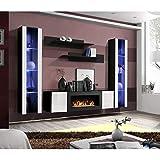 ASM Ensemble Mural - Fly M - 1 Meuble TV - 2 vitrines Verticales LED - 2 étagères murales - Noir et Blanc - Modèle 1