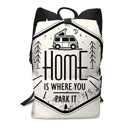 Unisex Backpack, Home is Where You Park It Vanlife Camper Art College Students Bookbags Travel Computer Notebooks Daypack School Outdoor Shoulder Bag Daypack
