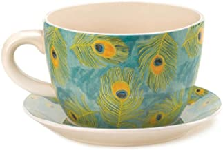 Decor and More Store 10016839 Large Style Garden Pot Cup and Saucer with Drain Hole Peacock Feather Teacup Planter
