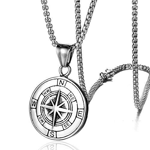 BBYaki Kompass Herren Halskette Wikinger Kompass Anhänger Titan Stahl Persönlichkeit Charme Herren Nordic, 60cm Kette,Silver
