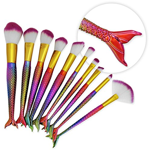 Fdvip 10 pcs Queue de sirène Make Up Lot de pinceaux de Rainbow Fond de teint Fard à joues Poudre Visage Vegan professionnel Cosmétique Artiste Licorne kit