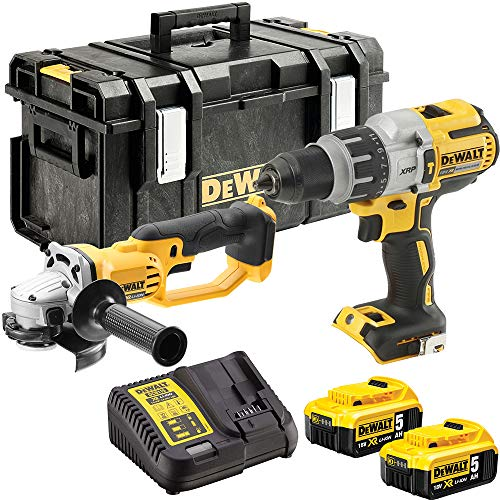 DeWalt DCK278P2 18V DCD996 Combi Drill & DCG412 Angle Grinder Twin Kit with 2 x 5.0Ah Batteries & Charger in Toughsystem Kit Box