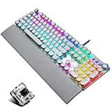 Retro Steampunk Gaming Mechanical Keyboard, Metal Panel, Black Switches, LED Backlit,USB Wired,Hand Rest,Typewriter-Style Round Keycaps,for Game and Office,for Computer Laptop Desktop PC(2088-silver)