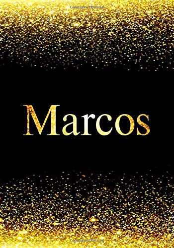 Marcos Notebook: Printed Glitter Black and Gold , Notebook Journal, 110 pages, 7x10 inch, Christmas gift , birthday gift idea