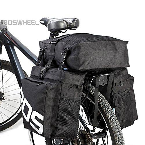 Roswheel fietstas – 37 l 3-in-1 fiets achterzeteltas accessoires voor bagage, mountainbike, straat, wielersport (zwart)