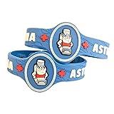 "Kids Asthma Band, Kids Medical Wristband – Colorful Asthma Alert Bracelet, Latex Free Asthma Medical Alert for Kids Ages 3+ Asthma Awareness Bracelets Adjustable & Soft (2 Pack ""Puffer"")"