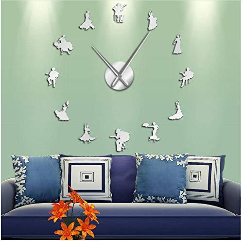 asqwq Flamenco Dance DIY acrílico Reloj de Pared Bailarina Silueta Dance Studio Wall Art decoración(Plata)
