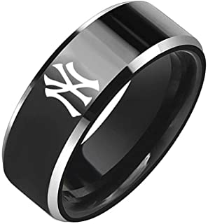 Sping Jewelry New York Yankees Baseball Team Ring Black Titanium Steel Sport Band Size 5-13