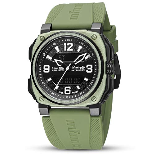 INFANTRY Mens Military Watch Waterproof Big Face Tactical Analog Digital Wrist Watches for Men with Green Rubber Band by Revolution