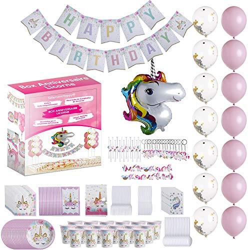 TellementHappy® Decoration Anniversaire Licorne Fille Kit Fête 164 Pcs avec Ballon Licorne Rose et Blanc Paillettes Vaisselle jetable Kit Anniversaire avec des Cadeaux pour chacun de Vos 12 invitées
