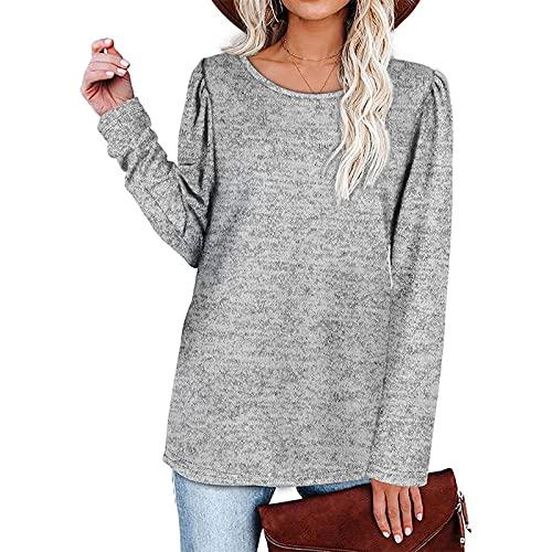 EpicLife Suéter de color sólido para mujer, manga larga, cuello redondo, suelto, Y2K, bodycon con sudadera para otoño, gris, S