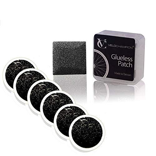 VeloChampion Kit di Patch autoadesive glueless per la Riparazione Leggera della Foratura della Bici - Disponibile in Confezione da 6 o 10 Pezzi (6 toppe)