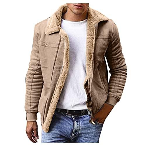 Abrigo de forro polar para hombre, cuello alto, forro polar, chaqueta de invierno de peluche, chaqueta de invierno con forro polar, chaqueta de invierno con cremallera