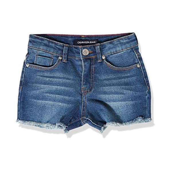 Calvin Klein Girls' Boyfriend Cut-Off Denim Short