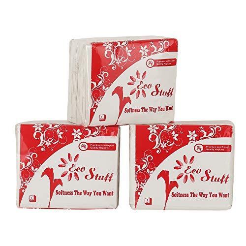 Eco Stuff Plain Tissue Paper Napkins, 27x30 cm (Pack of 3, 100 Napkins per Pack)