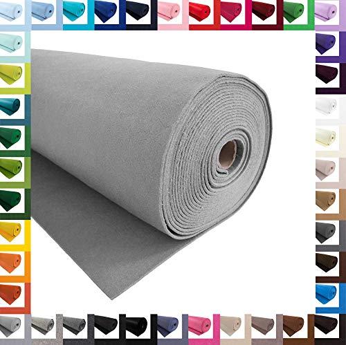 Bastelfilz 1m Meterware Filz 90cm x 1,5mm Dekofilz Taschenfilz Filzstoff 39 Farben, Farbe:hellgrau