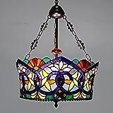 Lámpara de Techo de Tiffany Baroque 3 Luces Vintage Flush Monte Luz de Techo con Sombra de vidrieras 18'Bowl Creative Colgando Luces para Hall, Cocina Isla, Entrada