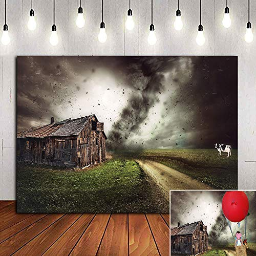 Nature Scenery Fairy Tale Tornado Themed Photography Backdrop for Children Kids Birthday Party Supplies Vinyl Farm House Photo Background 5x3ft Photo Booth Studio Props Baby Shower