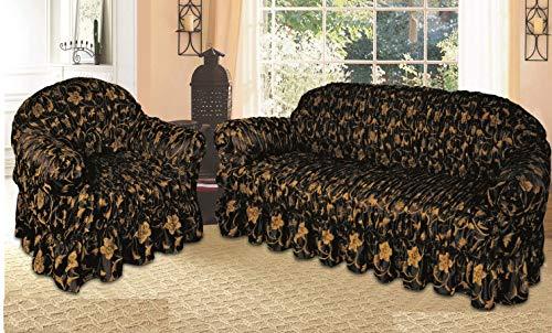 Funda de sofá jacquard y funda para asiento alternativo a la manta de sofá (sofá dorado negro, 1 plaza)