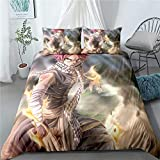 dgdgd Fairy Tail Natsu Dragneel Scarf Flame Anime 3 Piece Comforter Set 3D Printing Bedding Soft Polyester Best Gifts for Anime Fans Room (1 Quilt Cover + 2 Pillowcase)