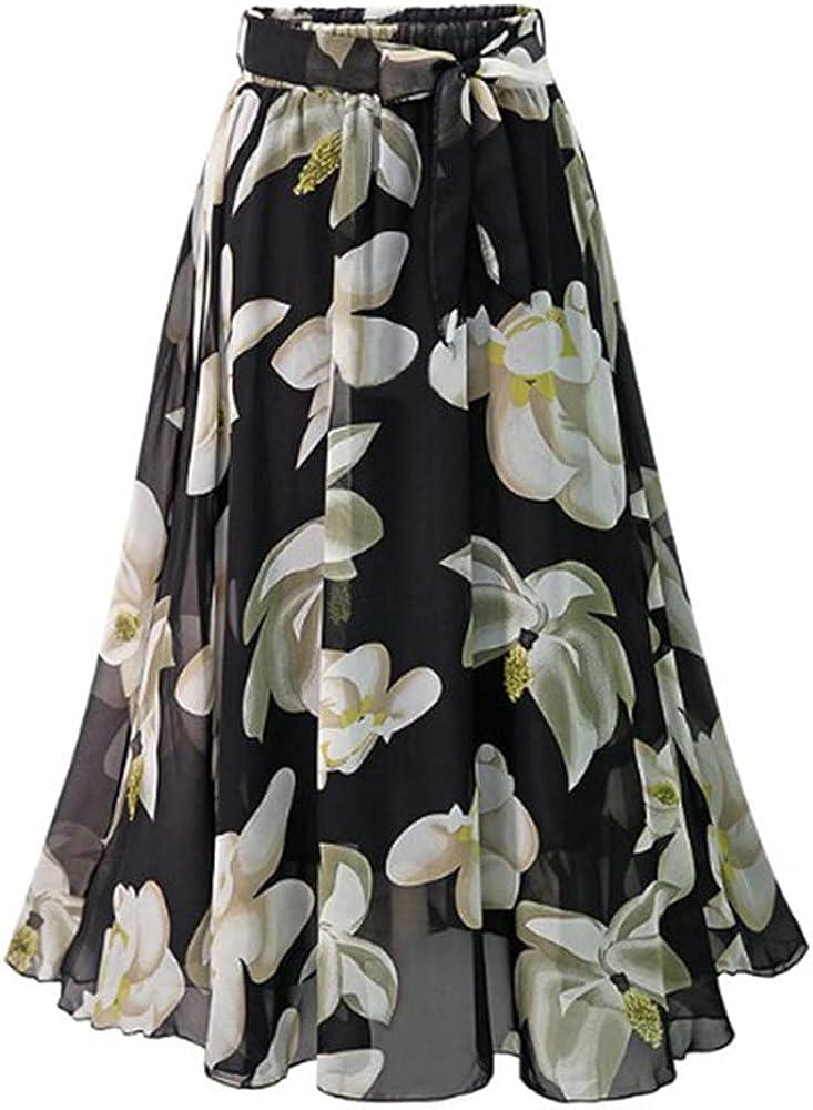 Women's Summer High Waist Floral Print Flowy Bohemian Maxi Chiffon Skirt with Belt
