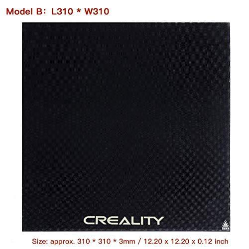 Glazen plaat 3D Printer Gehard Glas Bed Platform Verwarmd Bed Bouwen Oppervlak Fit voor Ender-3/Ender-3 Pro/Ender-3X/Ender-5/CR-10/CR-10S/CR-20/CR-20 Pro Printer 235x235x3mm/310x310x3mm Model B:l310 * W310