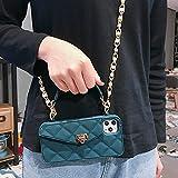 GGOIl Wallet Handbag Crossbody Funda para teléfono para iPhone 11 Pro XS MAX XR X 6s 8 7 Plus 12 Ranuras para Tarjetas Monedero Funda de Silicona con Correa Cadena, Verde con cordón, para iPhone X XS