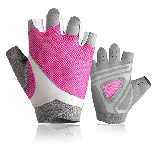 Yaayan Pink Womens Workout Gloves Lightweight Breathable Anti-Slip for Crossfit Exercise Training Fitness and Bodybuilding