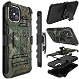 Phone Case for iPhone 12 Pro Max, Yunerz Holster Heavy Duty Shockproof Full-Body Protective Hybrid Case Cover with Swivel Belt Clip and Kickstand for Apple iPhone 12 Pro Max 6.7inch(Natural)