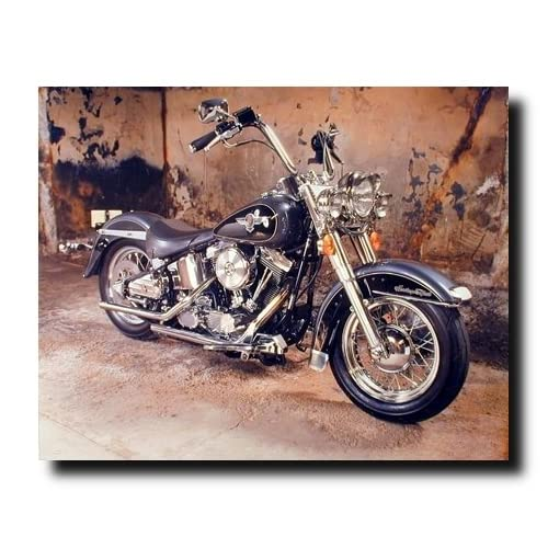 Poster Of Vintage Harley Davidson Motorcycle Wall Decor Art Print Poster 16x20