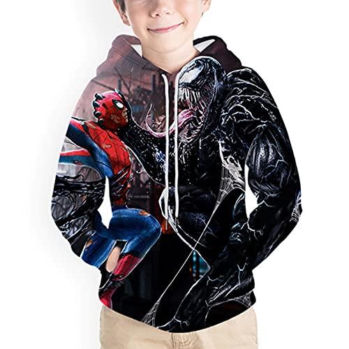 Sudaderas Spiderman Sudadera Capucha Chaquetas De Novedad para Nios Venom Anime Pullover Chndales De Manga Larga Moda Casual con Capucha Disfraz De Halloween Suter Cmodo,Black-Kid~150cm