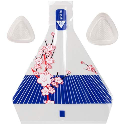 Molde de plástico triangular para sushi + 100 unidades de envoltura de Onigiri + adhesivo de sellado para restaurantes de sushi, cocina japonesa, hogar, camping (morado)