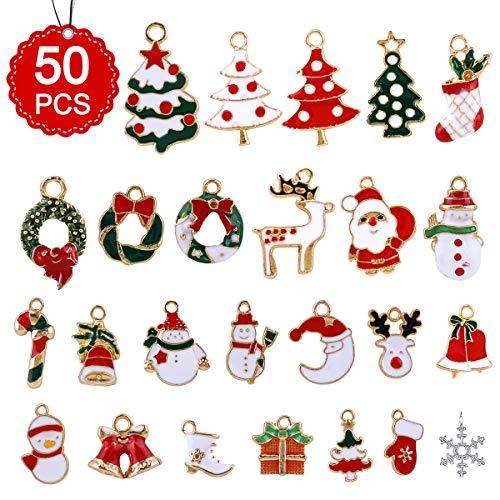 Phogary 50pcs, Fascino della Resina del Pupazzo di Neve dell'alce del Babbo Natale per l'ornamento della Decorazione di Natale DIY Craft, Ciondoli Natalizi