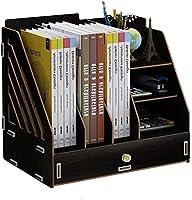 デスクMYTDBD上置棚 卓上収納ケース 机上台 多機能デスクトップ本棚オフィスストレージクリエイティブ主催木製ファイルホルダー用品ラック 書類整理 省スペース 大容量 (Color : Black)