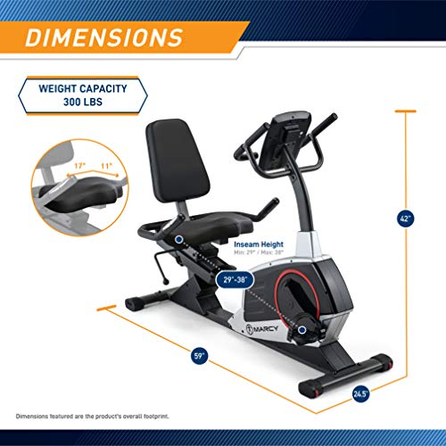 Product Image 2: Marcy Regenerating Recumbent Exercise Bike with Adjustable Seat, Pulse Monitor and Transport Wheels ME-706