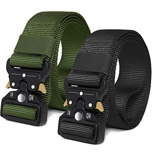 MOZETO Taktischer Gürtel, Unisex Heavy Duty Nylon Web Belt mit Schnellspanner Metallschnalle, Gürtel für Outdoor, Arbeit, Militär, Freizeit, Jagen - Gift Packaging
