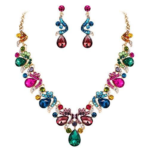 EVER FAITH Juegos de Joyas para Mujer Cristal Austríaco Boda Flor Vid Lágrima Multicolor Tono Dorado Collares Pendientes Conjunto