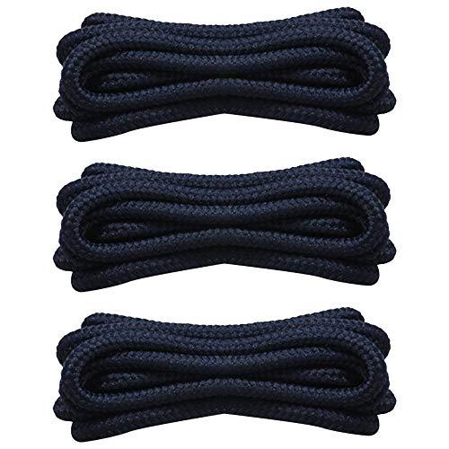SENDILI 3 Paia Lacci Tondi per Scarpe - Diametro 4mm Lacci Rotondi Durevoli 90cm/120cm/150cm - Ideali per Stivali, Scarpe Casual e Scarponcini, Blu scuro/90cm